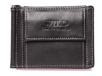 Męski portfel z metalowym klipsem na banknoty czarny WILD