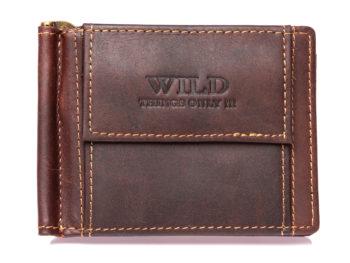Skórzany portfel męski z klipsem na banknoty ciemny brąz WILD