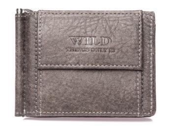 Szary portfel męski z metalowym uchwytem na banknoty