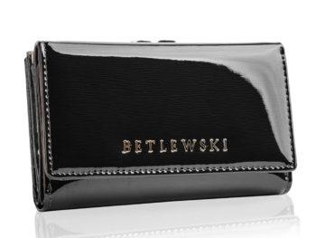 Betlewski czarny portfel lakierowany na bigiel