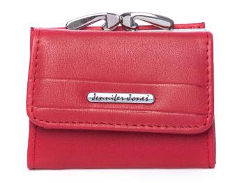 Mały portfel damski Jennifer Jones czerwony z biglem
