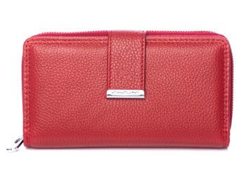 Duży czerwony portfel damski Jennifer Jones skórzany