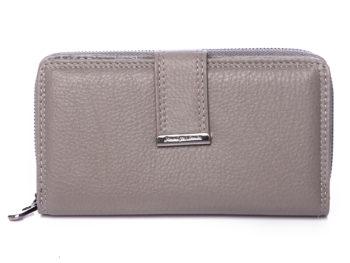 Duży szary portfel damski Jennifer Jones skórzany