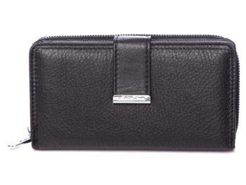 Duży czarny portfel damski Jennifer Jones skórzany