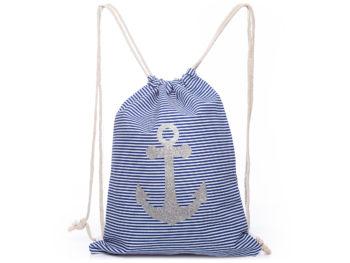 Damski plecak na sznurkach w niebieskie paski z kotwicą