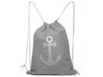 Plecak worek na sznurkach w czarno białe paski z kotwicą