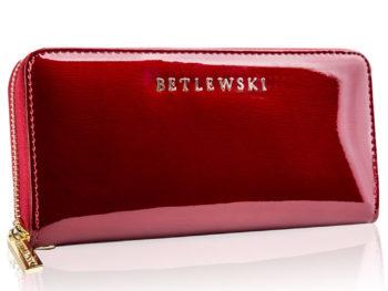 Czerwony lakierowany piórnik damski Betlewski ZBPD-BS-5201