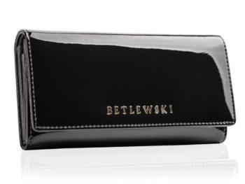 Czarny duży portfel lakierowany Betlewski