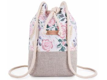 Plecak damski na sznurkach w pastelowe kwiaty