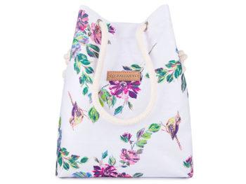torba worek biały w kwiaty ze sznurkami zagatto