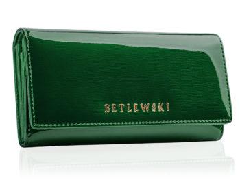 Duży zielony lakierowany portfel damski Betlewski